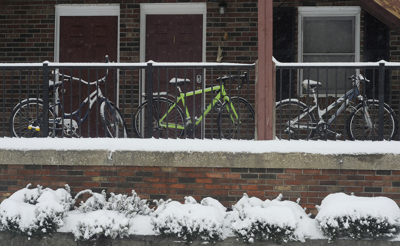 I get around Bloomington on bikes when it isn't snowing, so I was drawn to the snow-capped bikes at the apartments on East Atwater and South Woodlawn avenues. These are a bit more protected than others bikes I saw that day.  Photo by Ann Georgescu