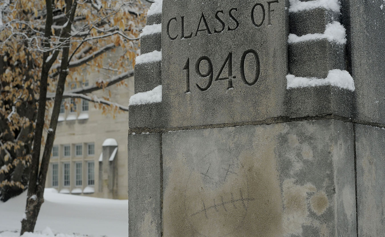 This one outside the former Indiana University School of Medicine building (now Myers Hall) might not be so popular, especially with the class of 1940 … but I wondered who had had a bad day? It stood out with the snow and the dark, heavy morning.   Photo by Ann Georgescu