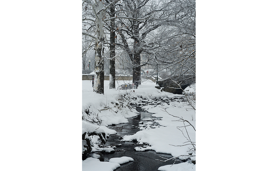 The bridge over Jordan River looked magical in the snow.   Photo by Ann Georgescu
