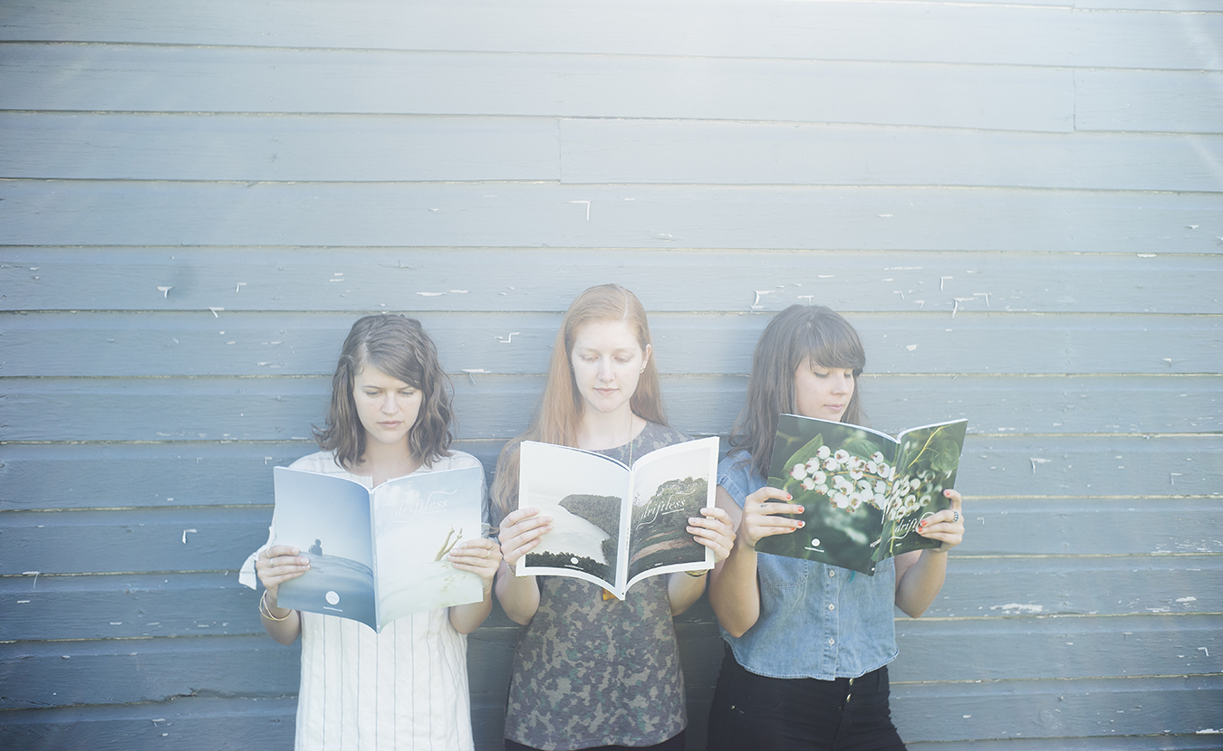 """Working out of Bloomington and Chicago, """"Driftless"""" magazine's three-member publishing team includes (l-r) Anna Powell Teeter, Leah Fithian, and Shelly Westerhausen. 