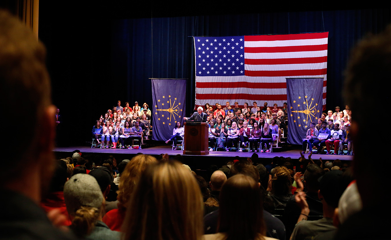 Vermont Senator Bernie Sanders has been the only presidential candidate of either party to visit Bloomington during this campaign season. An enthusiastic crowd greeted him at Indiana University Auditorium on Wednesday. | Photo by TJ Jaeger