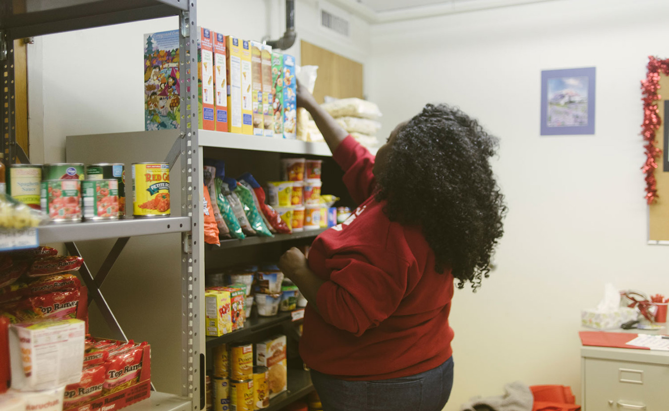 Mercedes Jones founded Crimson Cupboard to combat food insecurity on the Indiana University campus. The food pantry focuses on student-specific issues, such as the fact that dorm residents don't have easy access to kitchens. | Photo by Natasha Komoda