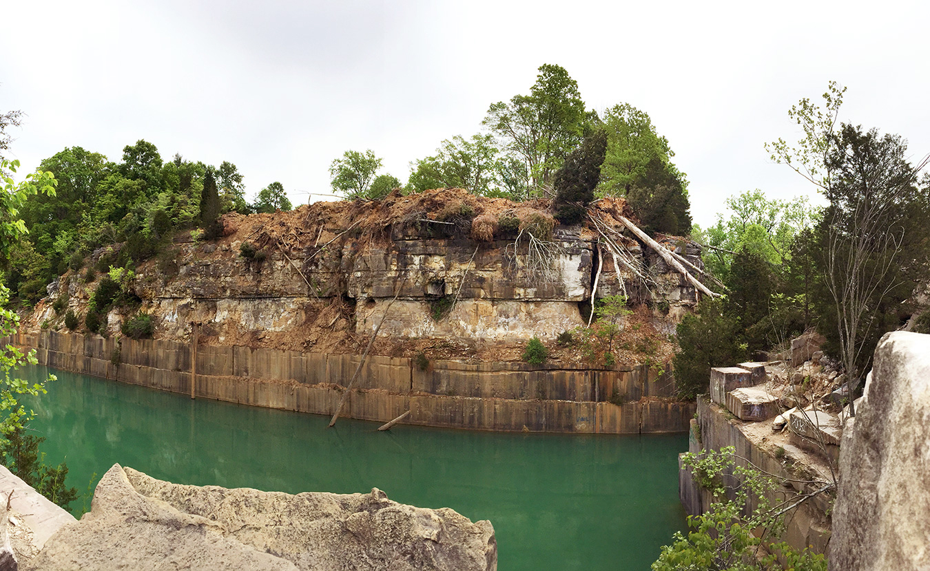 Indiana Limestone Company has taken extensive measures to make Rooftop Quarry safer by making it less accessible — this includes bulldozing debris to block a favorite 65-foot launching point. | Photo by Lynae Sowinski (Click the arrows for more photos.)