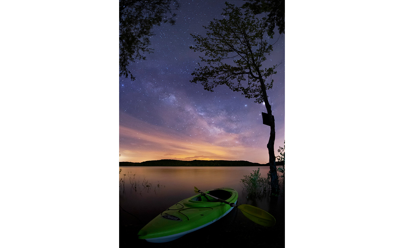 Clark took a kayak for a solo camping trip one night in early May onLake Monroe. Because it was a new moon, it was the perfect time to snap some Milky Way shots. This photo isfrom about 2 a.m. | Photo by Nathan Clark