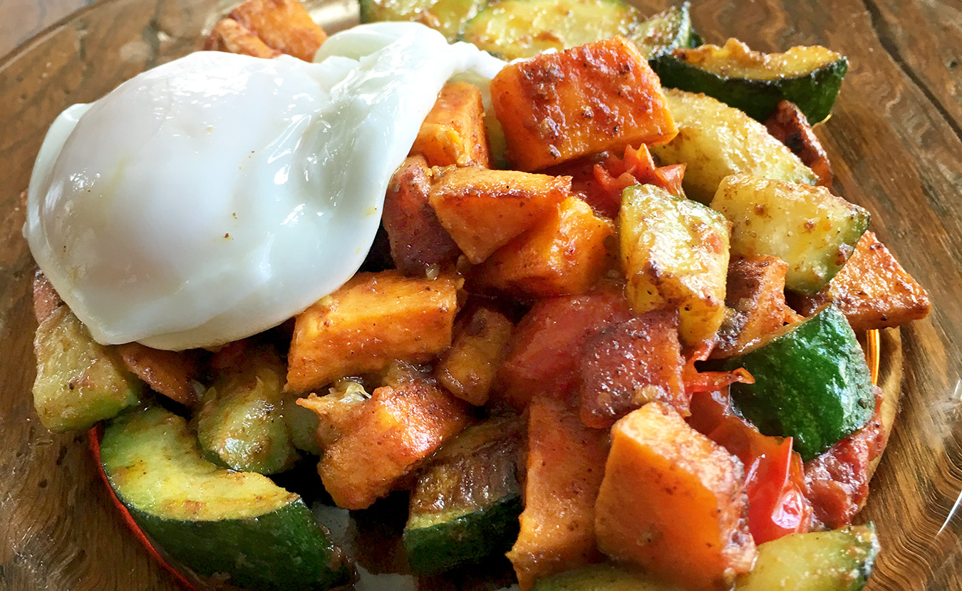 The often-ignored zucchini gets center stage in Ruthie Cohen's Zucchini and Sweet Potato Hash with Eggs recipe.   Photo by Ruthie Cohen