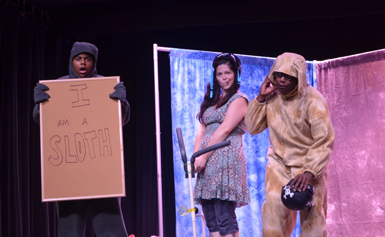 """A Reimagining Opera for Kids (ROK) performance of """"Rufus and Rita,"""" featuring (l-r) Dexter Griffin as the Sloth, Alejandra Martinez as Rita, and Marquese Carter as Rufus. 