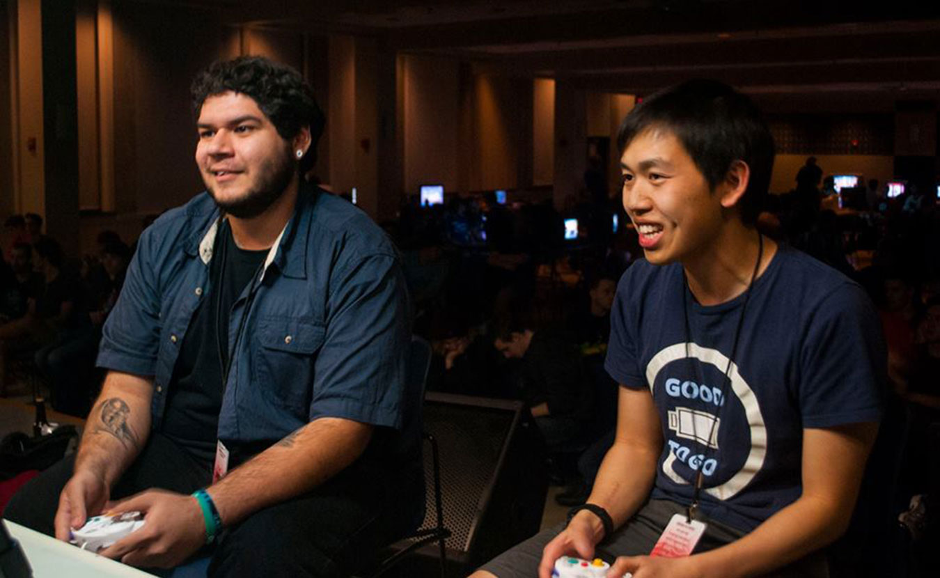 "West Coast ""Super Smash Bros."" competitors, Joey ""Lucky"" Aldama and Binyan ""Darkatma"" Lin, at Smash at IUB's Full Bloom 2 tournament. | Photo courtesy of Smash at IUB"