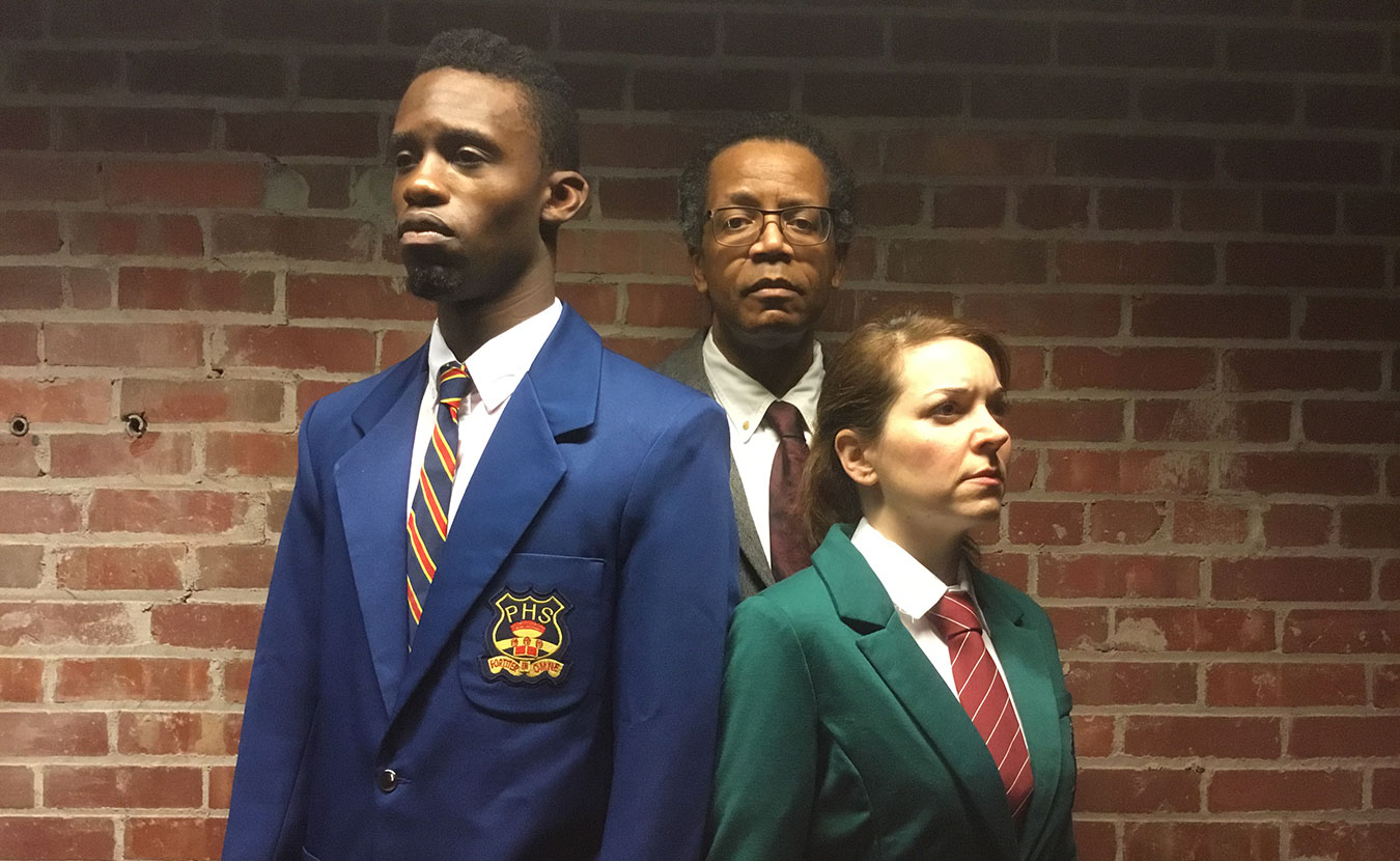 """The cast of Art of Africa's production of """"My Children! My Africa!"""" by Athol Fugard: (l-r) Yusef Agunbiade as Thami, Ansley Valentine as Mr. M., and Tara Chiusano as Isabel. 