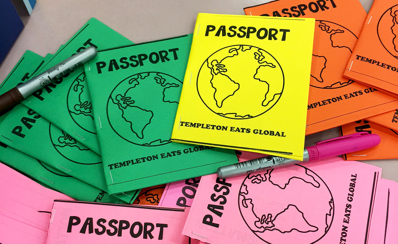 """Students at Templeton Elementary School participated in Templeton Eats Global by trying foods from all over the world and moving from station to station with passports to mark their """"travels."""" 