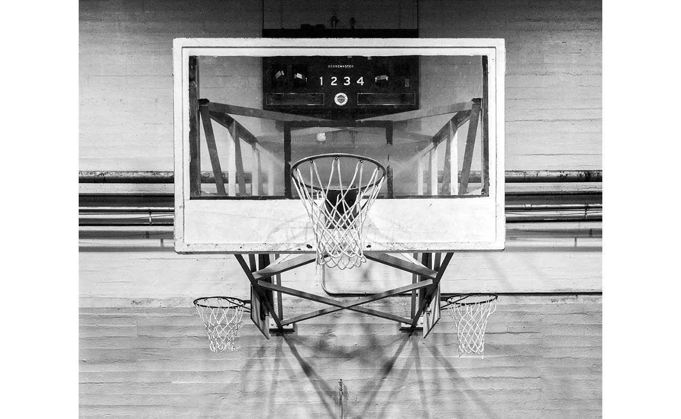 The basketball hoop at the old school gymnasium in Oolitic, Indiana. | Photo by Adam Reynolds