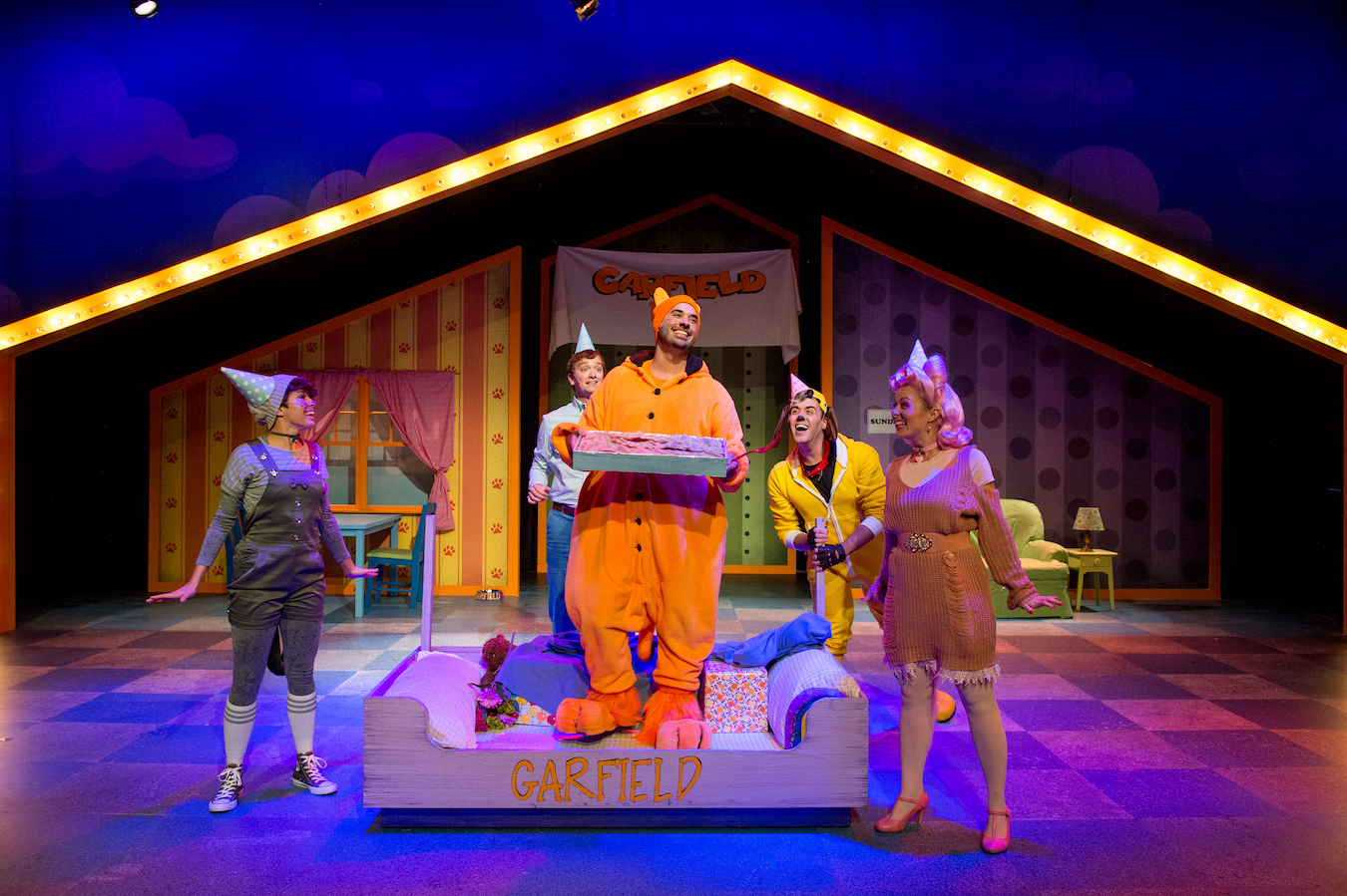 Garfield gets his cake (and definitely eats it) in Cardinal Stage Company's first Cardinal for Kids performance of the 2017-18 season, 'Garfield: The Musical With Cattitude.'   Photo courtesy of Blueline Media Productions