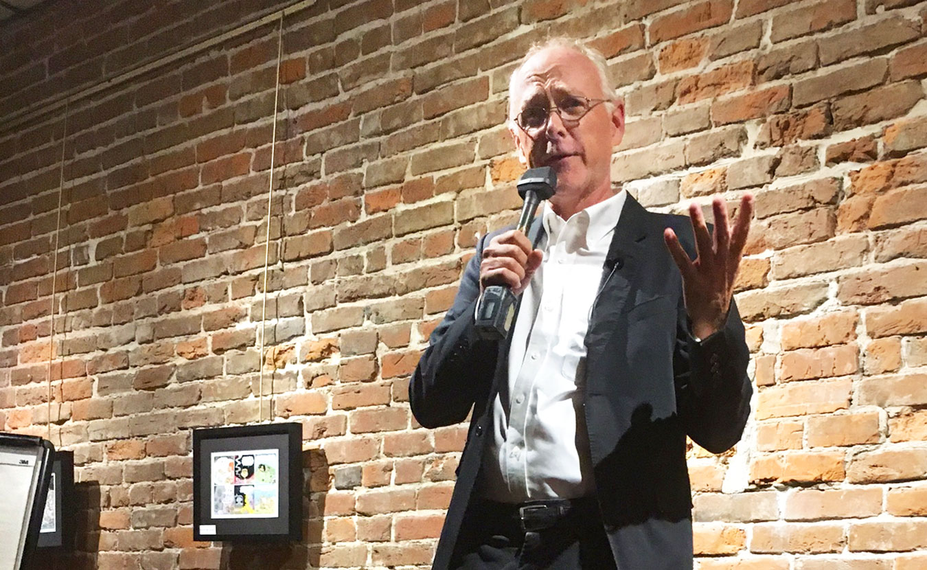Pulitzer Prize-winning cartoonist and Bloomington expat Joel Pett returned to his hometown recently for a gallery show — and a stand-up gig at Thomas Gallery. | Photo by Devta Kidd