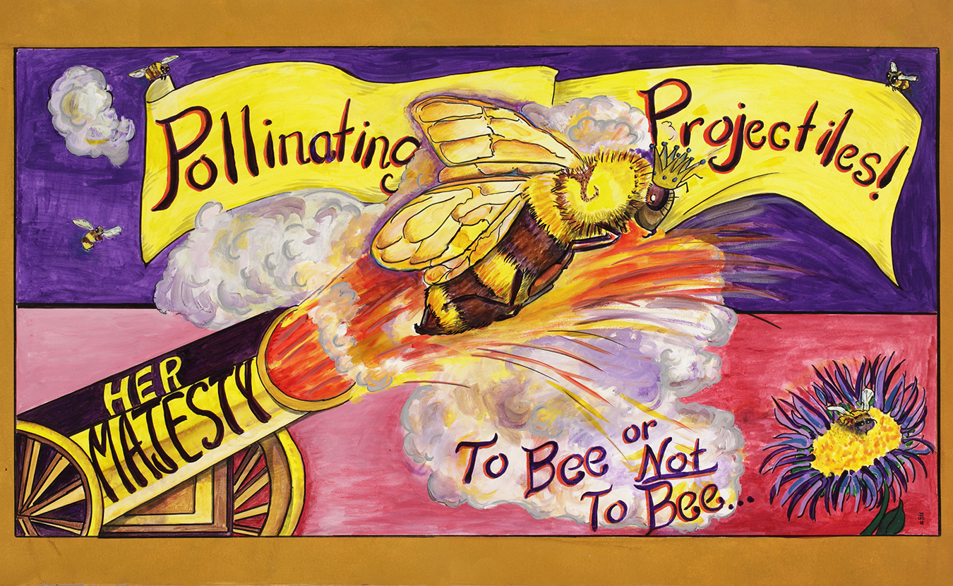"""""""Pollinating Projectiles!, To Bee or Not To Bee"""" is one of many paintings in Joe and Bess Bohon Lee's exhibition, Professor Animalia's Menagerie of Struggling Species. The show will take place throughout the month of April at Blueline Gallery. 