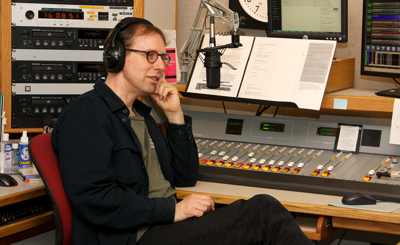 David Brent Johnson works in the sound booth at WFIU. | Courtesy photo
