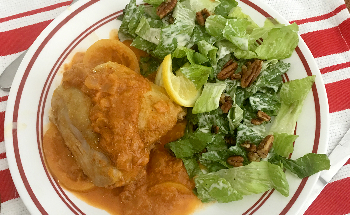 """While Ruthie Cohen's mother always kept a tin of dry mustard in the cupboard, Ruthie didn't acquire a taste for the """"nasty condiment"""" until years later. Now she uses it frequently in dishes such as her Middle Eastern–style Chicken in Mustard Sauce and Romain and Walnut Salad (both pictured here). 