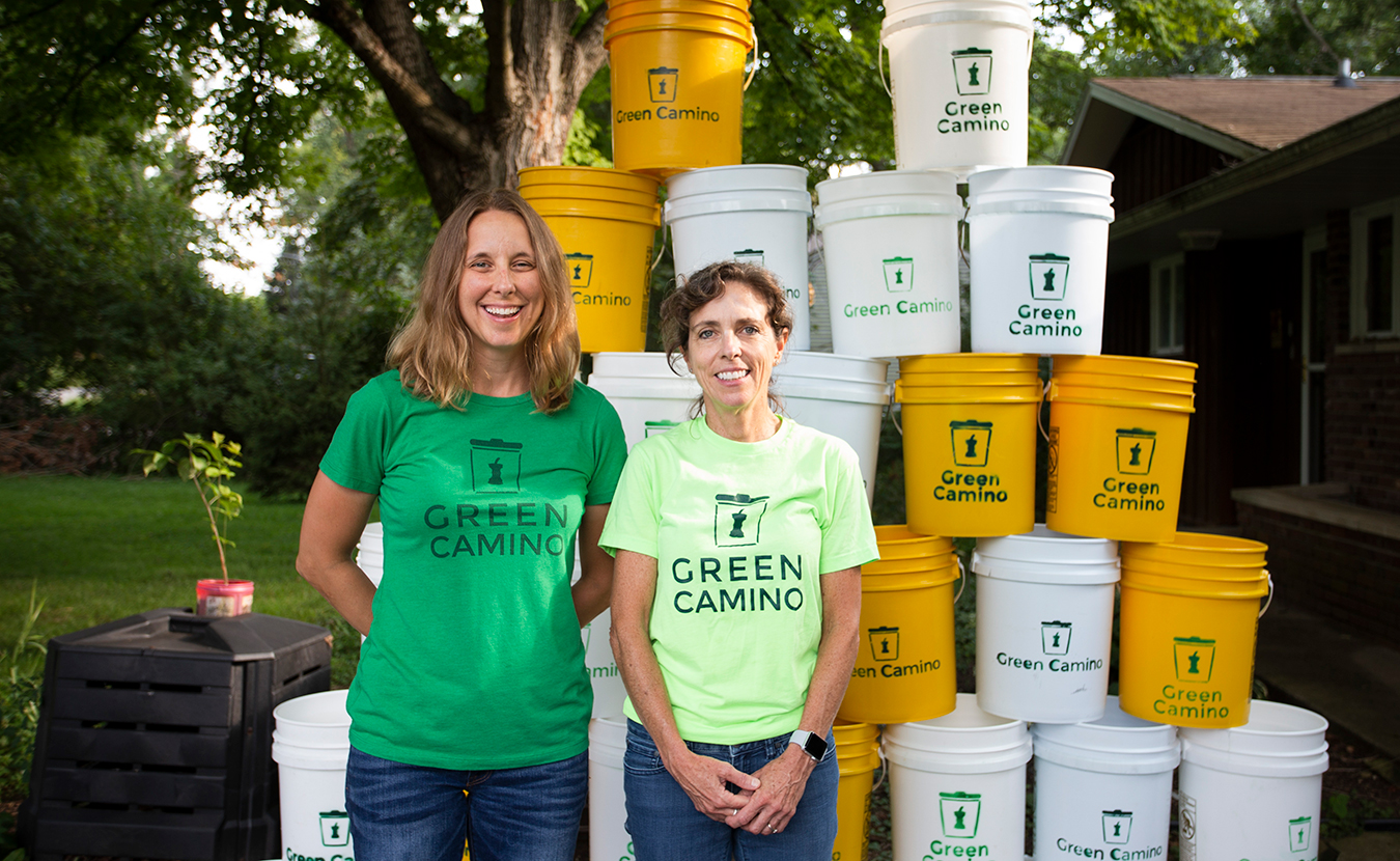 """Randi Cox, left, and Kathy Gutowsky of Green Camino Inc. originally planned to make their composting business a nonprofit. But after some research, they learned that they could become a benefit corporation or """"B corp"""" — a for-profit business that also strives to create a general public benefit.   Photo by Chaz Mottinger"""
