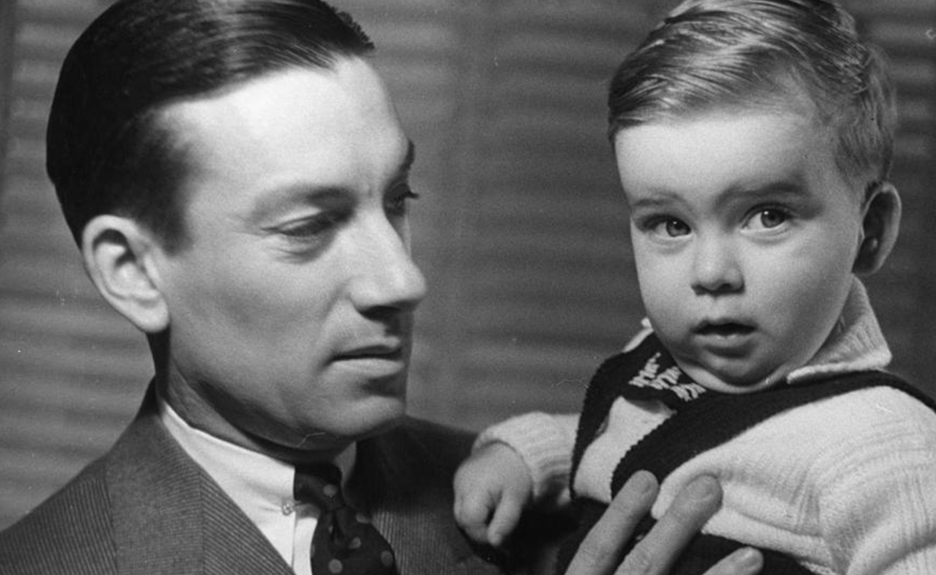 """Hoagy Carmichael holds son Hoagy Bix in the early 1940s. More recently, Hoagy Bix was in town for IU Theatre's production of """"Stardust Road: A Hoagy Carmichael Musical Journey,"""" and he talked with writer Michael G. Glab about growing up in Hollywood, his famous namesakes (Hoagy and Bix), and the musical that is premiering in Bloomington. 