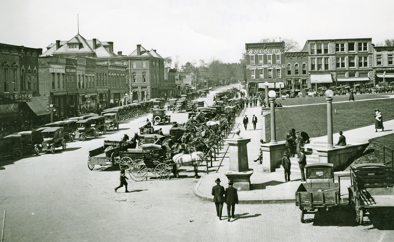 """Artist Edwin Fulwider wrote a memoir about growing up in Bloomington in the early 1900s. Written in the 1980s, the memoir portrays a """"rich landscape of local art, life, and history"""" of a bygone era, writes Michelle Gottschlich. This photo, from the early 1900s, is looking north on College Avenue from Kirkwood on the downtown Square (notice that Graham Plaza hadn't been built yet). 
