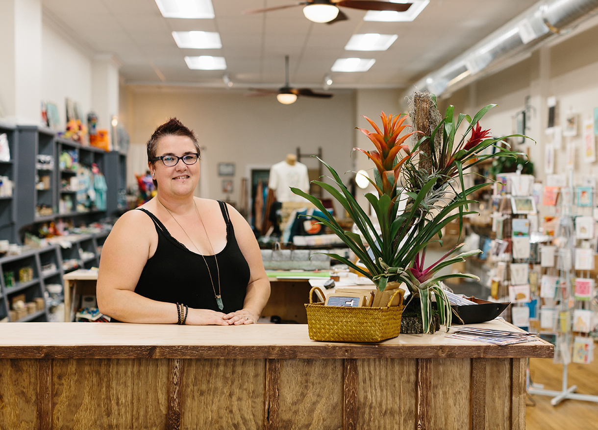 """""""There are so many talented people in Bloomington and the state, but it can be hard for them to get their products to market,"""" says Talia Halliday, owner of Gather : handmade shoppe & Co.:. """"I want to help them be successful and help build a supportive community."""" Gather stocks handmade goods by more than 250 makers and artists and hosts pop-up events that give the opportunity to showcase the breadth of their work and to engage with customers firsthand. 