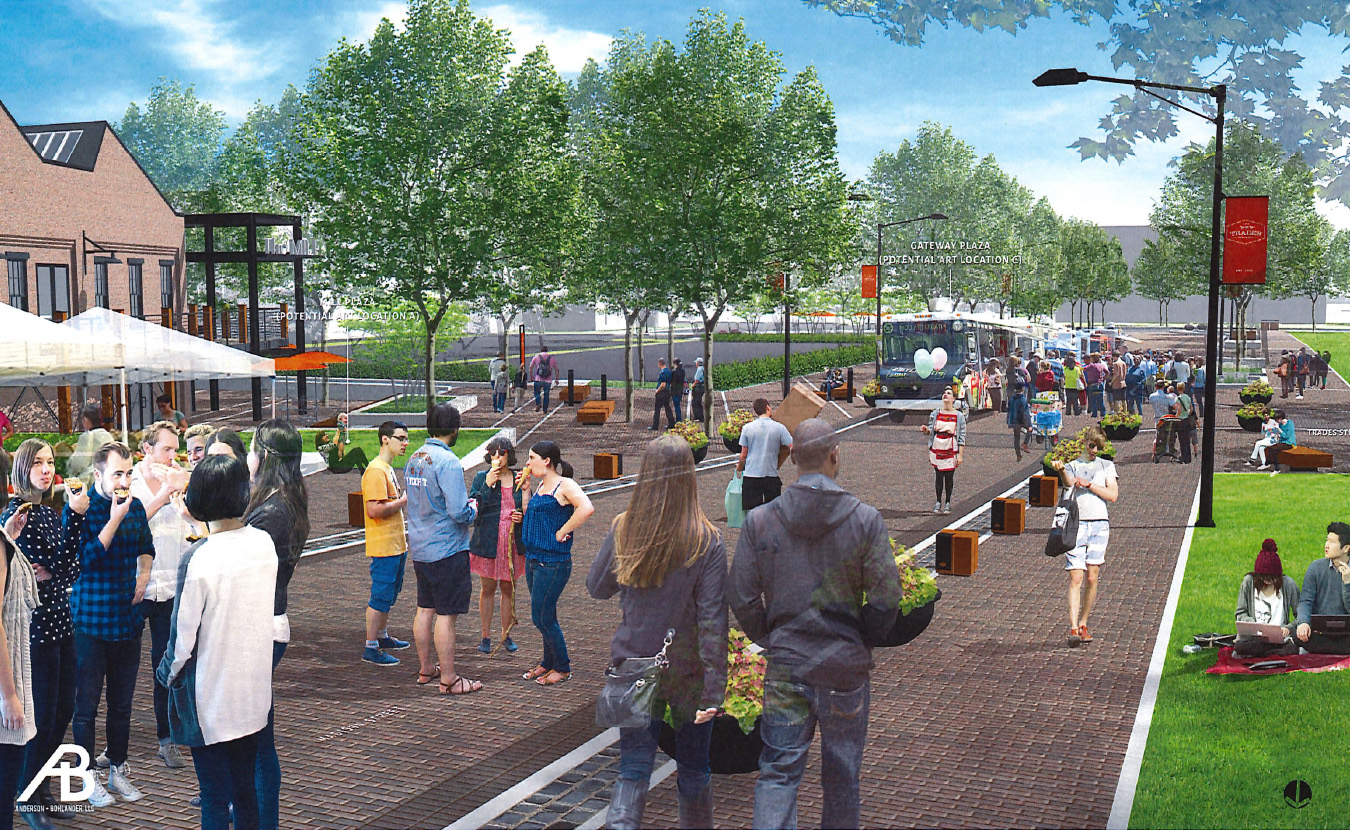 """A nonprofit called CDFI Friendly Bloomington offers financial support for underserved communities, including projects in the """"creative sector."""" One possibility is to help fund public art in the Trades District, as shown in this rendering prepared for the City of Bloomington by Anderson + Bohlander, LLC. 
