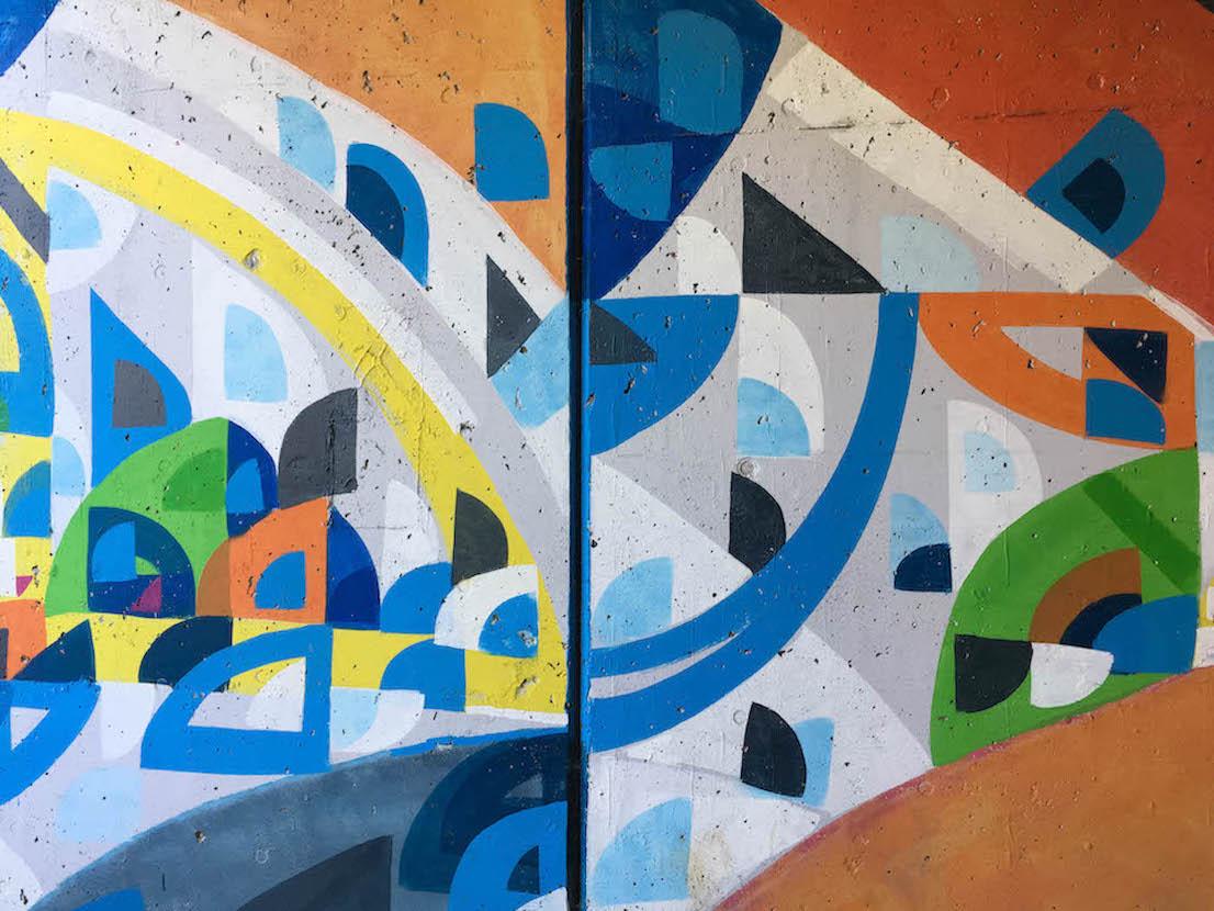 Detail of East 7th Street Underpass, 'Jensai Crossing' (2017), East 7th Street & SR 45/46 Bypass, artist — Justus Roe