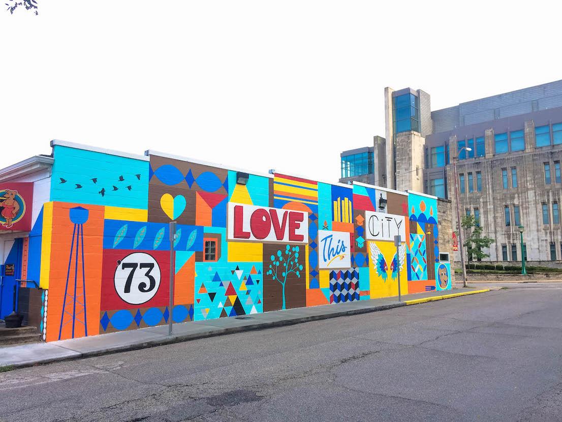Mother Bear's Pizza, 'Love This City' (2019), 1428 E. 3rd St., artist — Eva Allen
