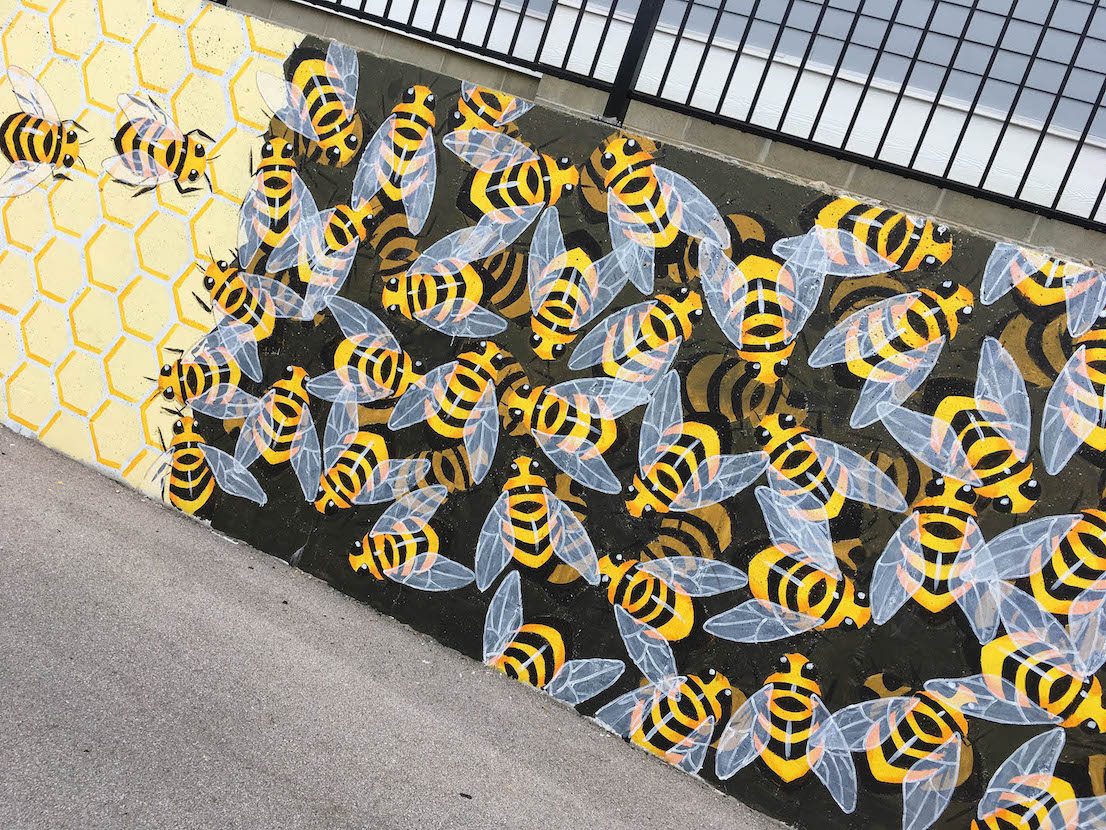 Bitzer's Wall, 'The Bee-Line' (2018), 921 S. Morton St., artist — Lily Hollinden