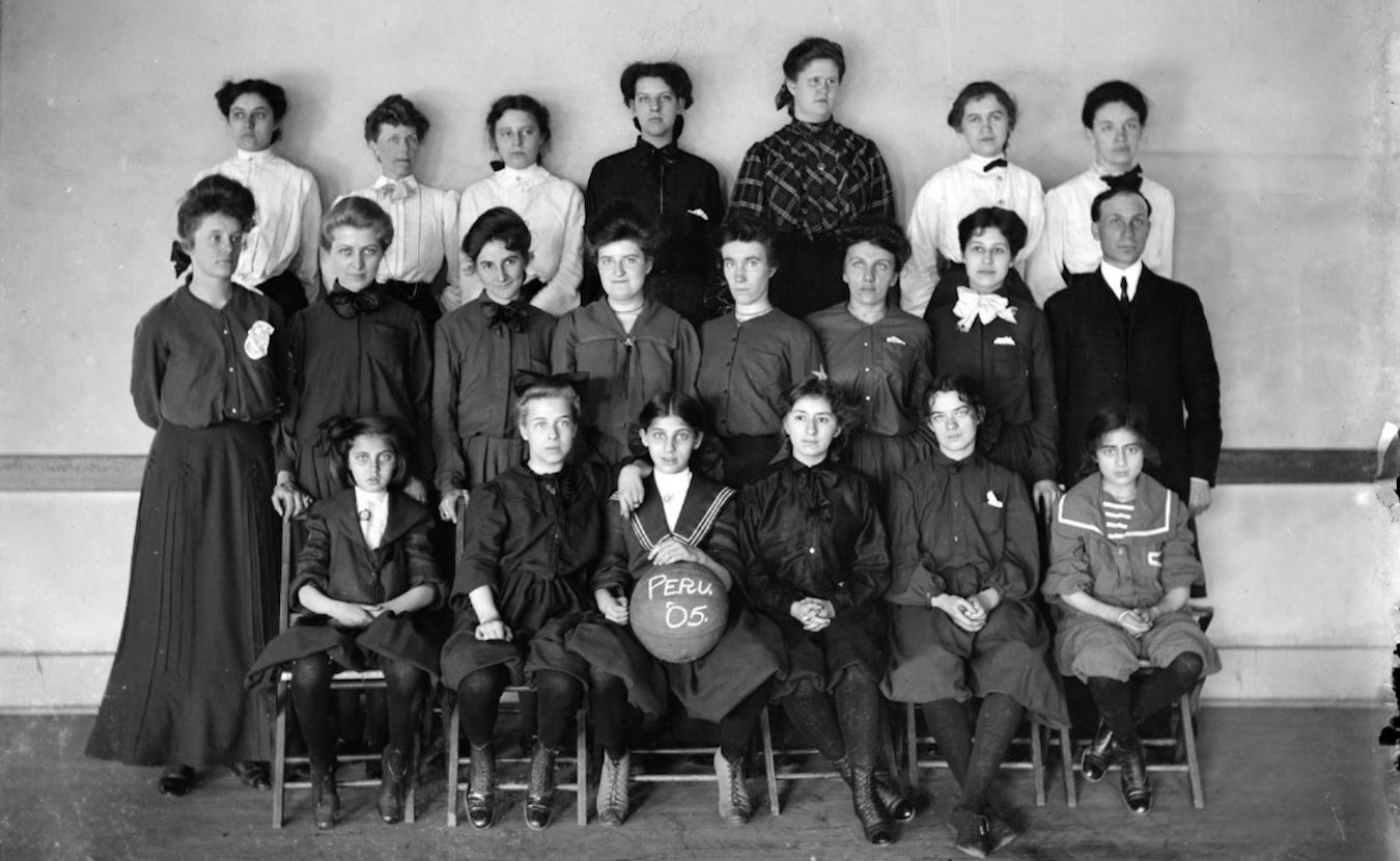 Writer Michael G. Glab says team nicknames and mascots adopted by Indiana's high schools tell the stories of this 'high school hoops mad' Hoosier state. This 1905 photo shows the Peru High School girls team. Peru would later adopt the nickname the Tigers, as their town was the winter home to many circuses. | Photo courtesy of