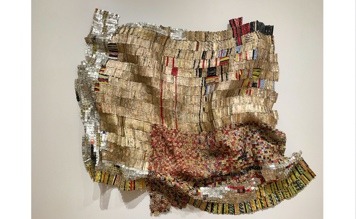 Another recent acquisition by the Eskenazi Museum of Art, Untitled, by El Anatsui, who has since spent much of his artistic career in Nigeria. Aluminum bottle caps and copper wire (2009).   Photo by Paige Strobel