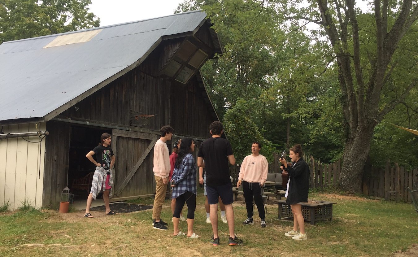 Actors in the Emerging Theatre Artist Residency rehearse a play at Krista Detor and Dave Weber's artist retreat, The Hundredth Hill, in northern Monroe County. Since moving to the retreat in August, these recent graduates from NYU's Tisch School of the Arts have been working on two productions that they will perform for live audiences on a custom-built, outdoor stage on the property. | Limestone Post