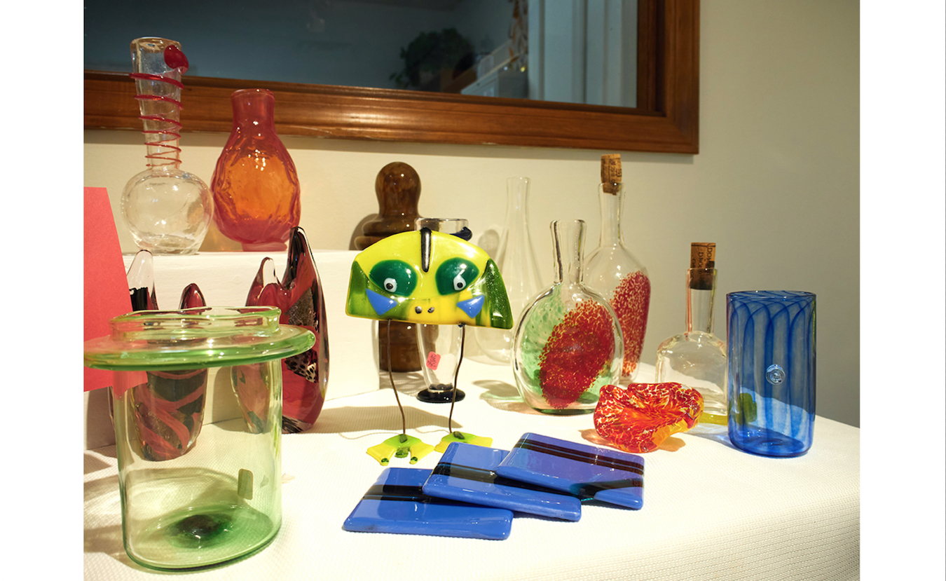 Many different artists are presented at the BCGC Gallery, which shows the distinctive types of creative paths one can take with glass. The pieces shown were all created by BCGC founder Abby Gitlitz.   Photo by Paige Strobel