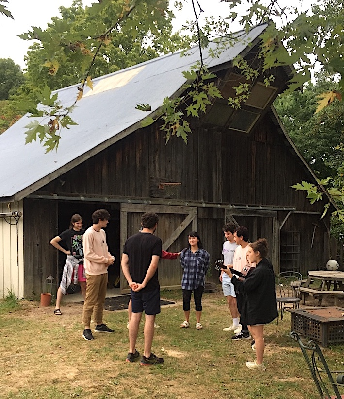 Actors in the Emerging Theatre Artist Residency rehearse a play at Krista Detor and Dave Weber's artist retreat, The Hundredth Hill, in northern Monroe County. LP contributor Dason Anderson gave us a backstage look. | Photo by Grayson Pitts