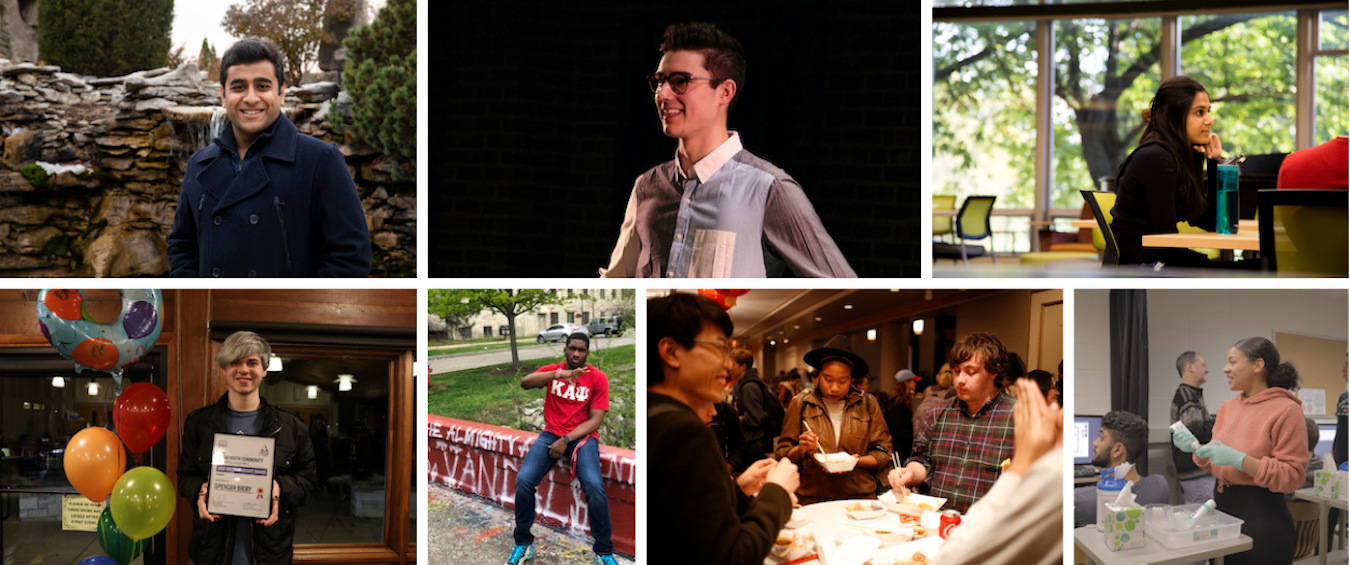 Seven of the twelve students featured in 'IU 2020': (top row, l-r) Yash Aragarwala, Broderick Balsley, Neha Bhasin; (bottom row, l-r) Spencer Biery, Courtland Crenshaw, Doña Eliassaint (center), Jayla French. Links to a profile of each student can be found at the end of the article. | Courtesy photos
