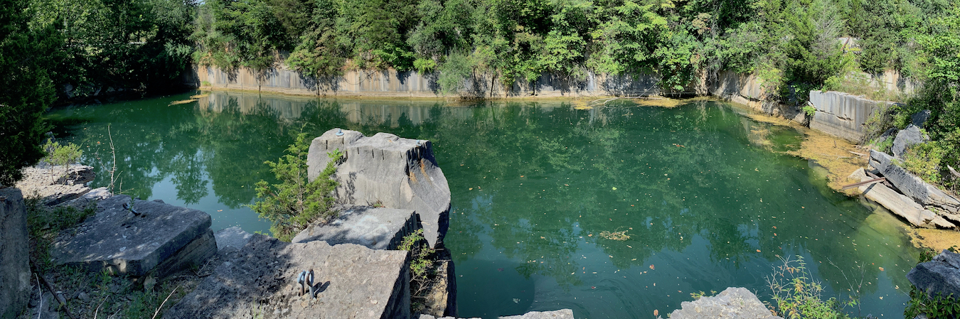 Laurie D. Borman wrote about Quarry in the Uplands, a proposal by the Monroe County Plan Commission to turn a 100-acre former quarry property into a limestone heritage park that would highlight the history of the local limestone industry and provide an arts venue. The article includes a drone video of the property by Monroe County Councilor Geoff McKim. | Photo by Geoff McKim