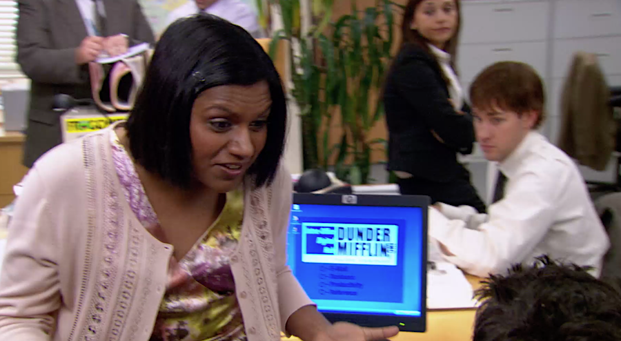 From 'The Office,' when Kelly Kapoor (Mindy Kaling) tells a co-worker how Netflix works: 'I go click, click, click. … It's so easy, Ryan. Do you really not know how Netflix works?' (Screenshot)