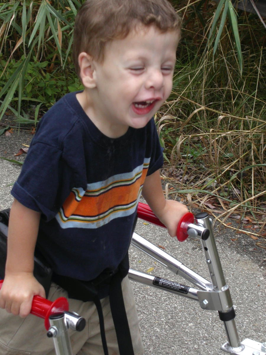 At age two and a half, Samuel was eager to explore the world beyond his home, with the independence offered by his walker and the safety provided by sidewalks. | Courtesy photo