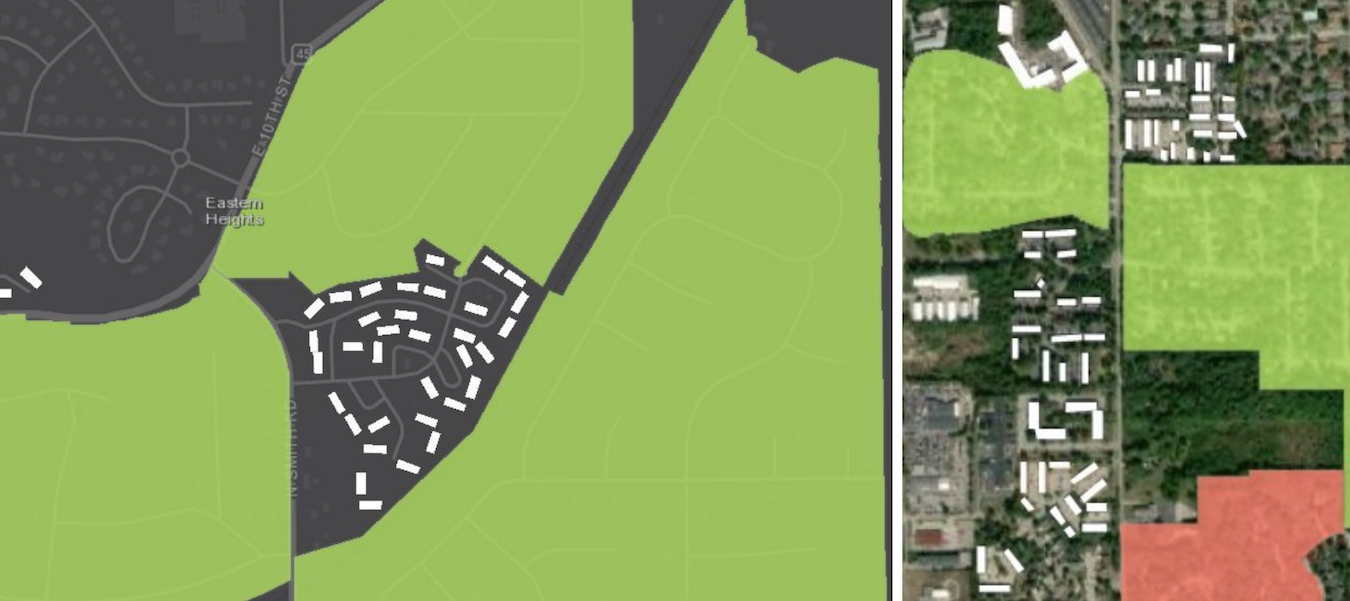 In northeast Bloomington, the Eastern Heights Neighborhood Ass(left) In northeast Bloomington, the Eastern Heights Neighborhood Association surrounds, but does not include, the Meadow Park Apartments. (right) Sherwood Oaks and Sunny Slopes Neighborhood Associations are colored green because any resident may join — as long as they live in the boundaries of the association. Peppergrass Neighborhood Association is in red to indicate only property owners are eligible to belong. Numerous apartments are shown along South Walnut Street Pike. | StoryMap by Mark Stosberg. Sources: neighborhood data from City of Bloomington; apartment data from OpenStreetMap.ociation surrounds, but does not include, the Meadow Park Apartments. Sherwood Oaks and Sunny Slopes Neighborhood Associations are colored green because any resident may join — as long as they live in the boundaries of the association. Peppergrass Neighborhood Association is in red to indicate only property owners are eligible to belong. Numerous apartments are shown along South Walnut Street Pike. | StoryMap by Mark Stosberg. Sources: neighborhood data from City of Bloomington; apartment data from OpenStreetMap.