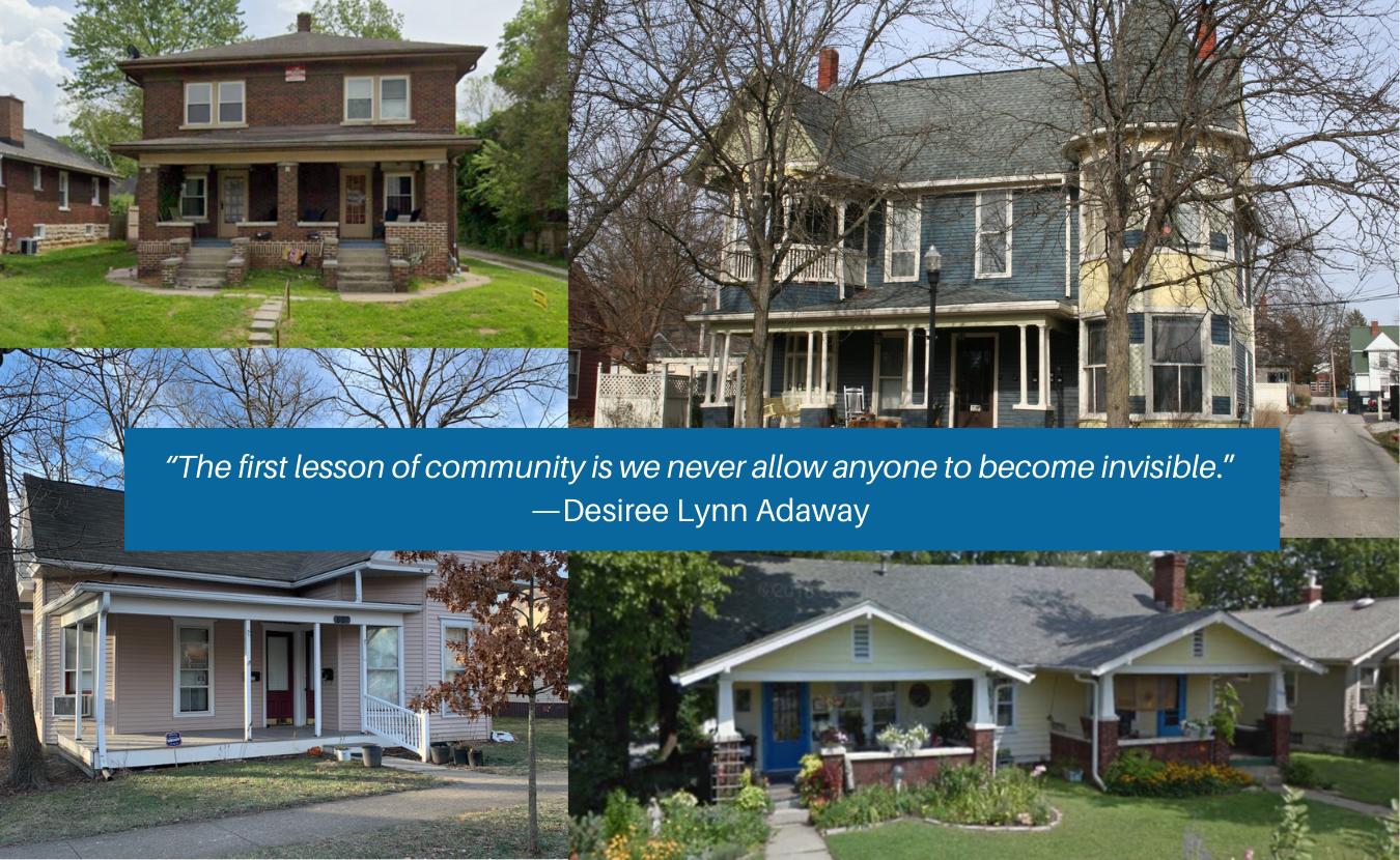 """In the past 25 years, the housing supply in Bloomington has not kept pace with population growth, and housing prices have gone up while wages have remained flat. Housing expert Deborah Myerson says exclusionary housing policy creates issues related to housing affordability, accessibility, racial inequity, and climate change — as well as invisible neighbors in our community. The photos above depict examples of """"missing middle housing,"""" courtesy of NeighborsUnited.info."""
