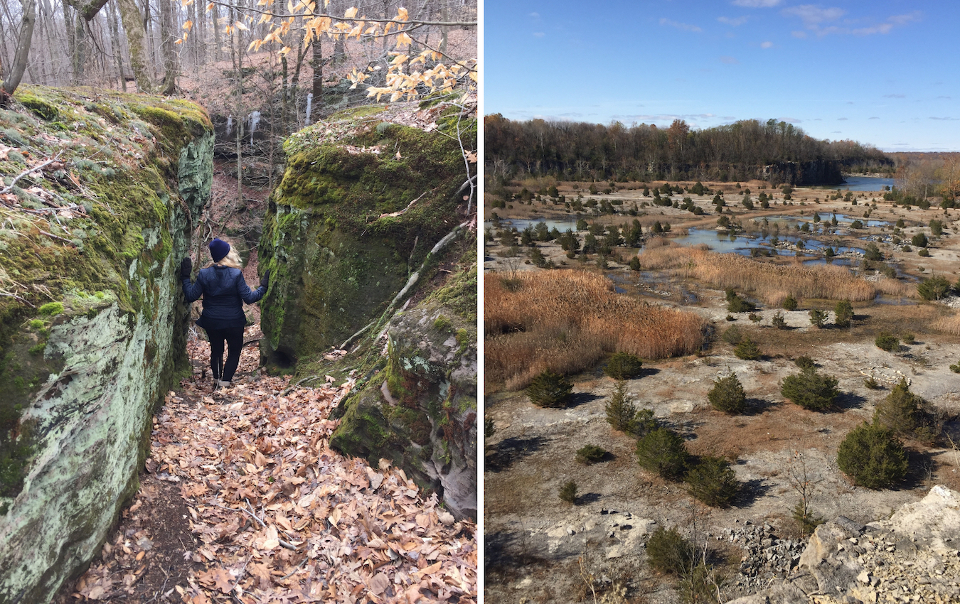 Fern Cliff Nature Preserve and DePauw Nature Park are only 7 miles apart, but neither is typical of the surrounding Putnam County countryside. Walker says Fern Cliff (left) is more like Middle-earth, while DePauw Nature Park (right) might evoke the Arizona desert. | Limestone Post