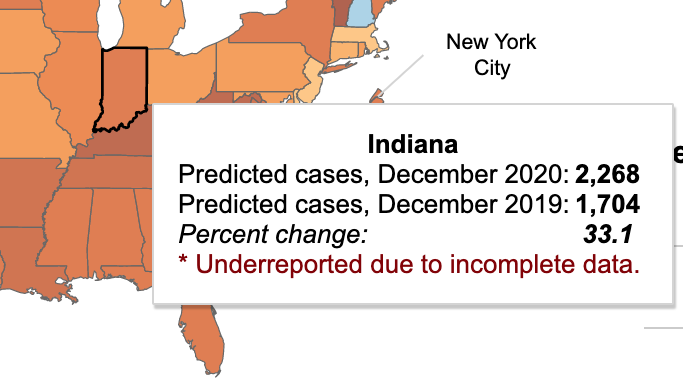 A detailed inset from the CDC map above shows Indiana reported 2,268 drug overdose deaths in 2020, a 33 percent increase over 2019.