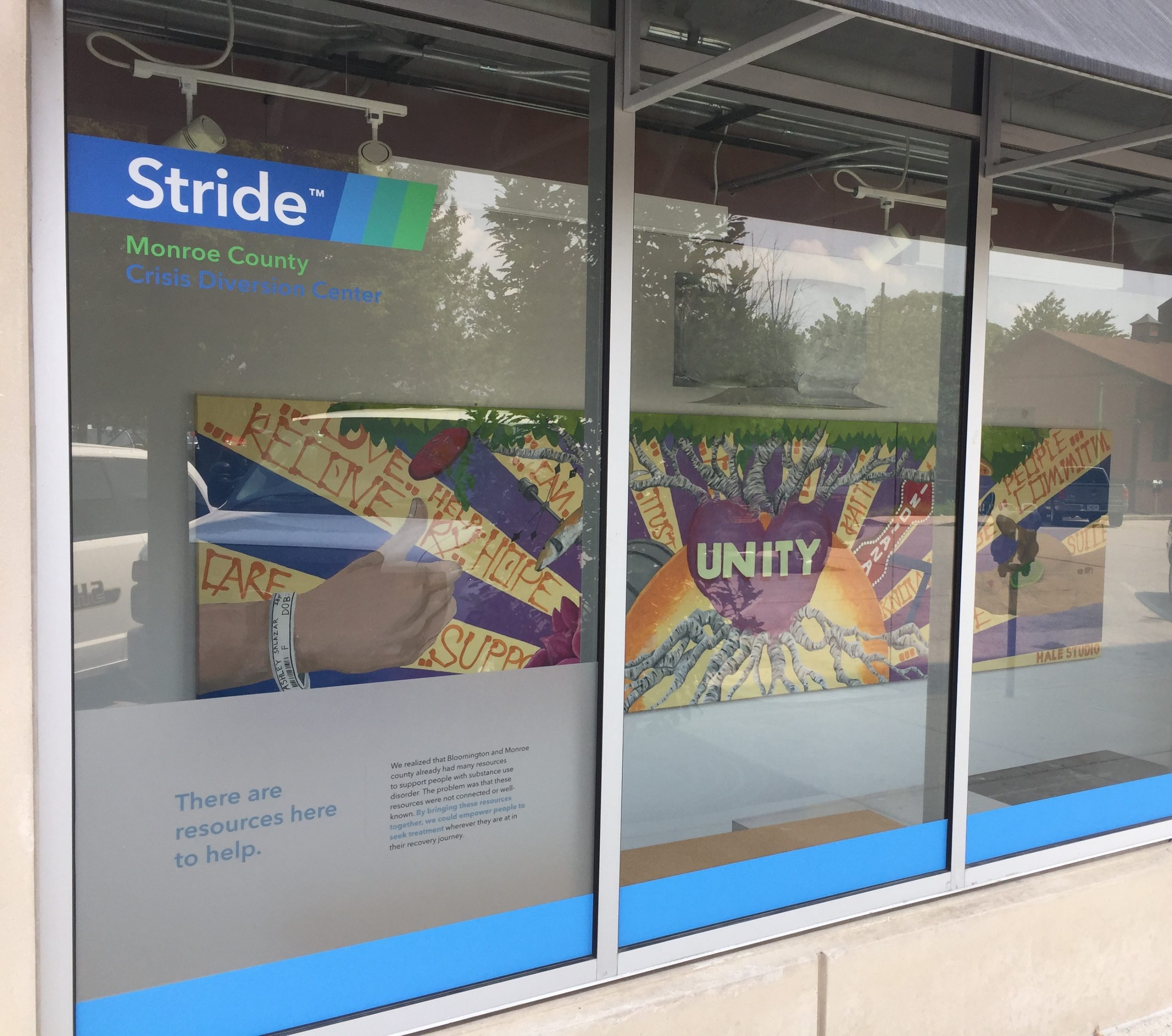 The front window display of the Stride Center at 312 N. Morton St. in Bloomington. Susan Harrington, program manager at the center, says Stride is a voluntary diversion center and 'resource hub.'   Limestone Post