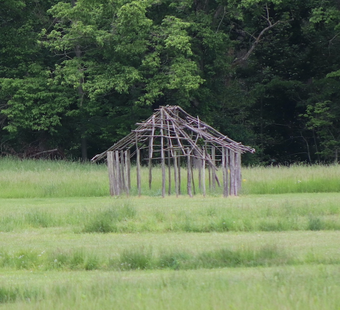 This reconstructed frame of a daub house at Angel Mounds is like those that might have been used at the settlement. While the inhabitants were agricultural people, the town was also a trading hub due to its proximity to several rivers. | Photo by Laura Martinez